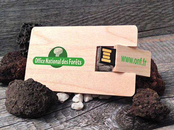 Clé usb publicitaire carte de crédit en bois