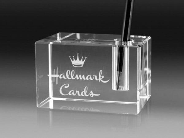 porte stylo verre avec gravure laser du logo