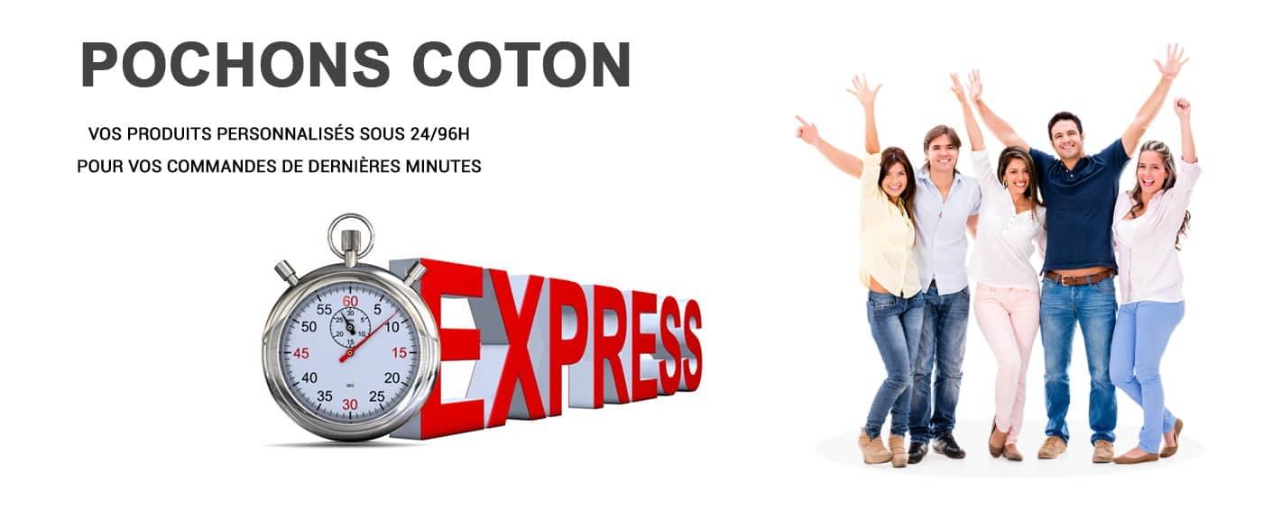 Gamme de pochons publicitaires en coton naturel à personnaliser. Livraison possible en 48h