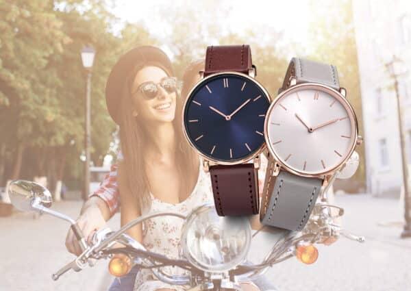 Montres publicitaires mixte avec bracelet cuir. Marquage de votre logo à partir de 25 pcs. Fabrication française