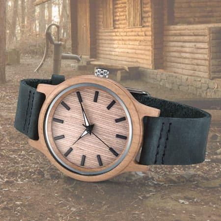 Montre ecolo en bois avec beau bracelet en cuir. Montre en bois à vpersonnaliser avec votre logo à partir de 25 pcs