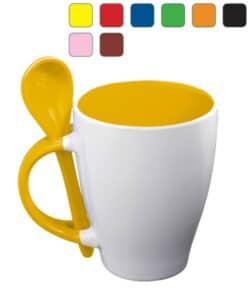 mug publicitaire bicolor avec cuillère à personnaliser avec le marquage de votre logo, livraison rapide chez Dezigner Com