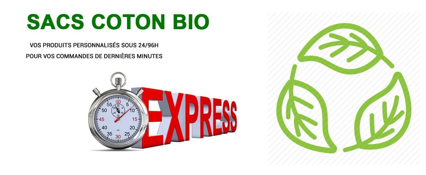 Gamme de sacs publicitaires en coton bio personnalisable avec votre logo ou image