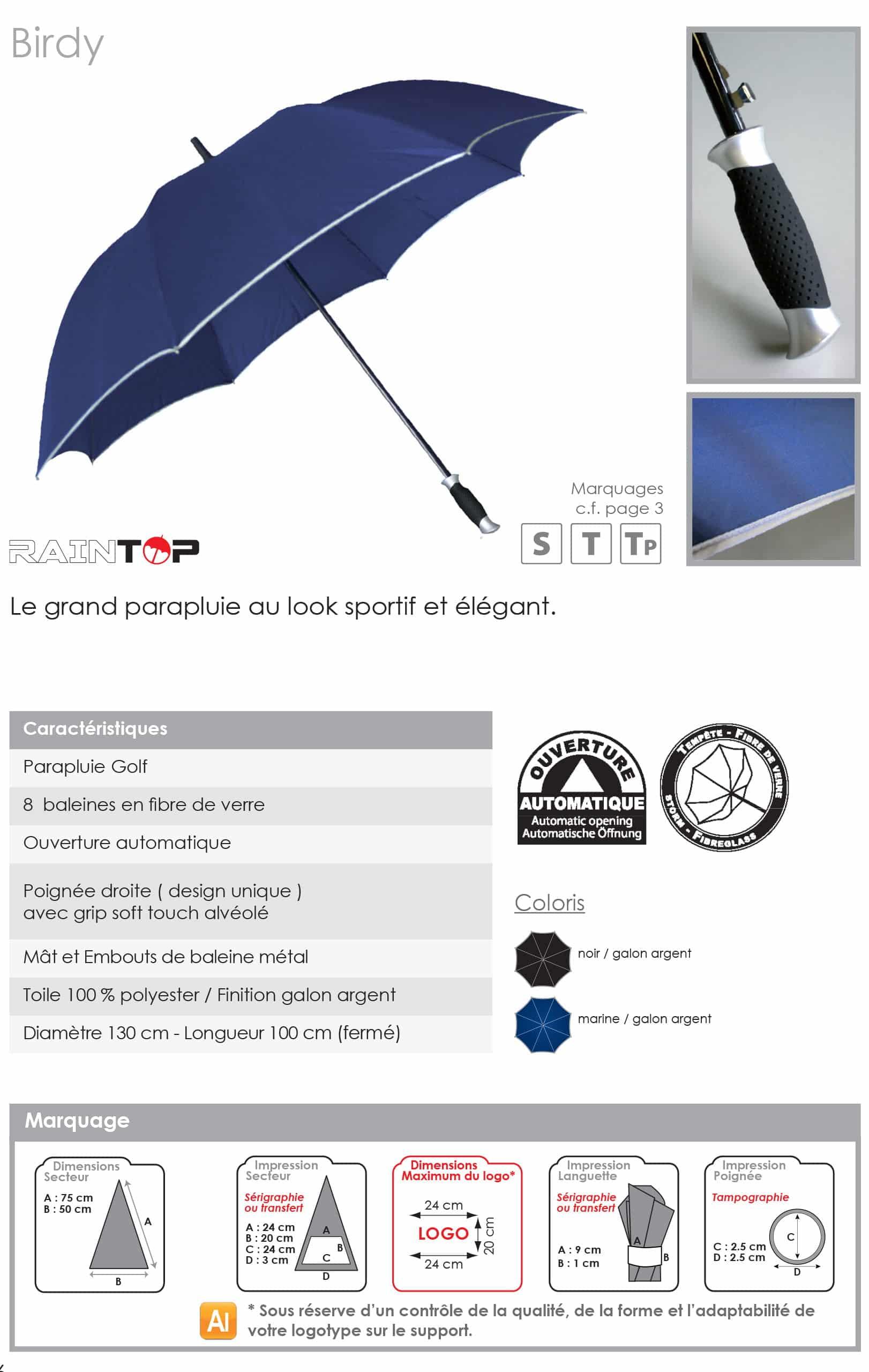 parapluie publicitaire golf haut de gamme