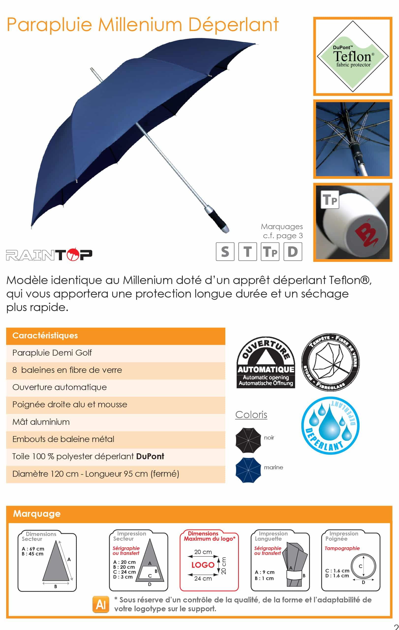 parapluie personnalisable golf sport