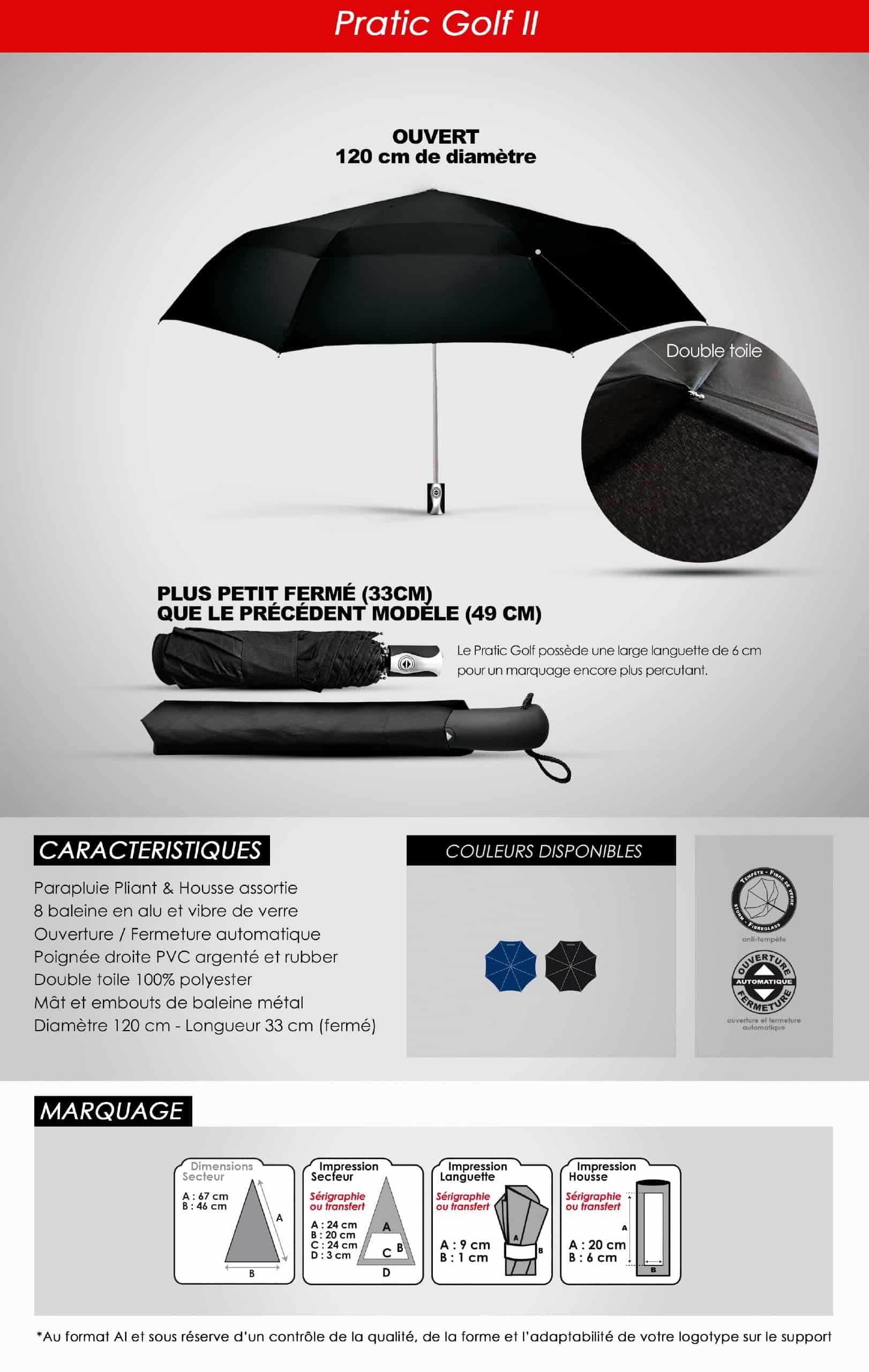 parapluie publicitaire golf pliant
