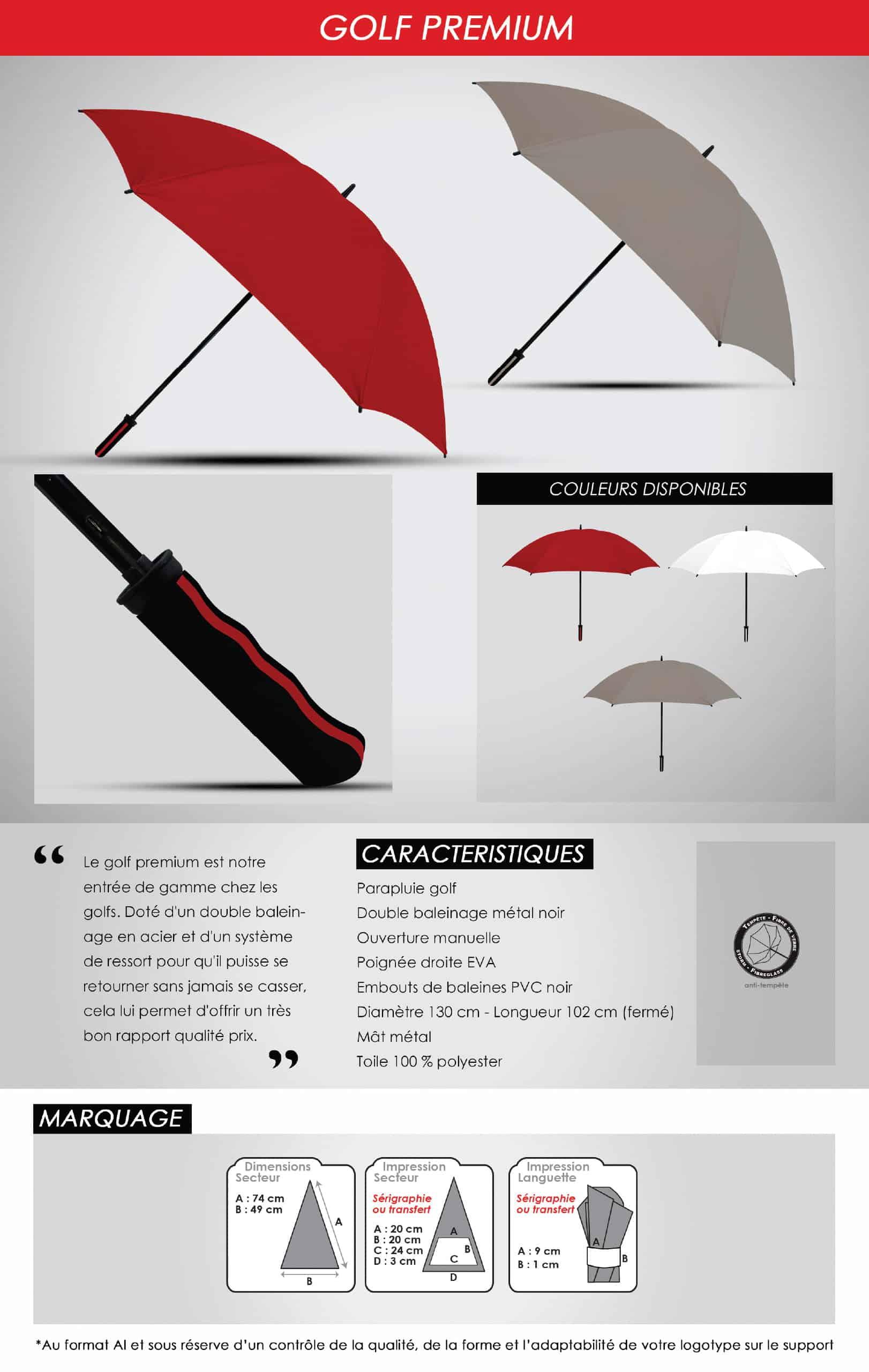 parapluie golf publicitaire luxe