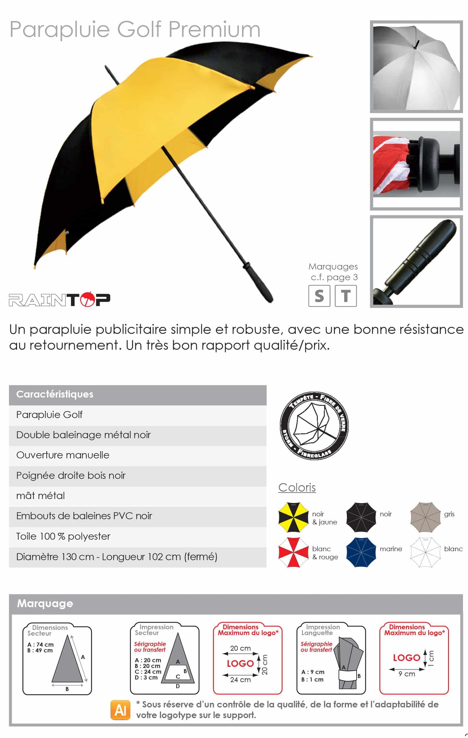 parapluie publicitaire golf personnalisable
