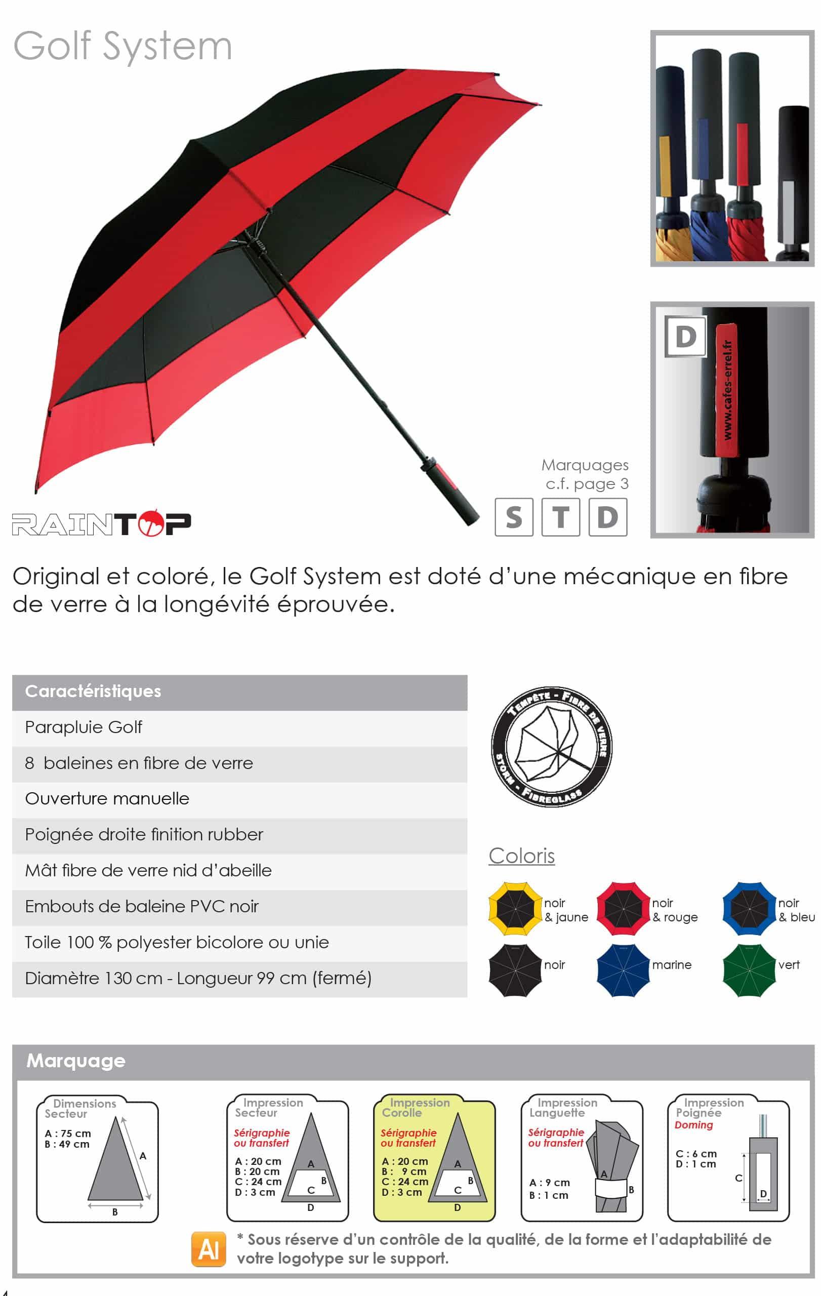 parapluies golf publicitaires originals