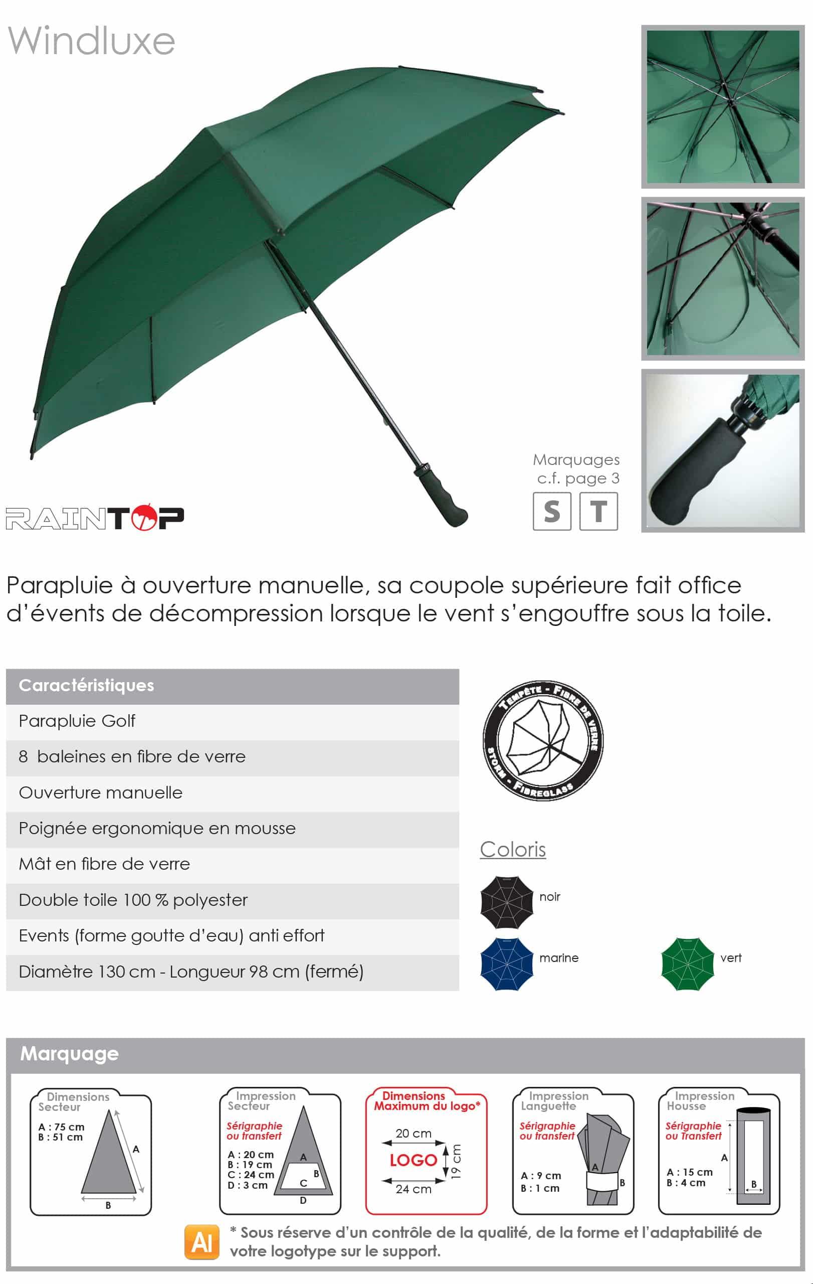 parapluie golf publicitaire anti vent
